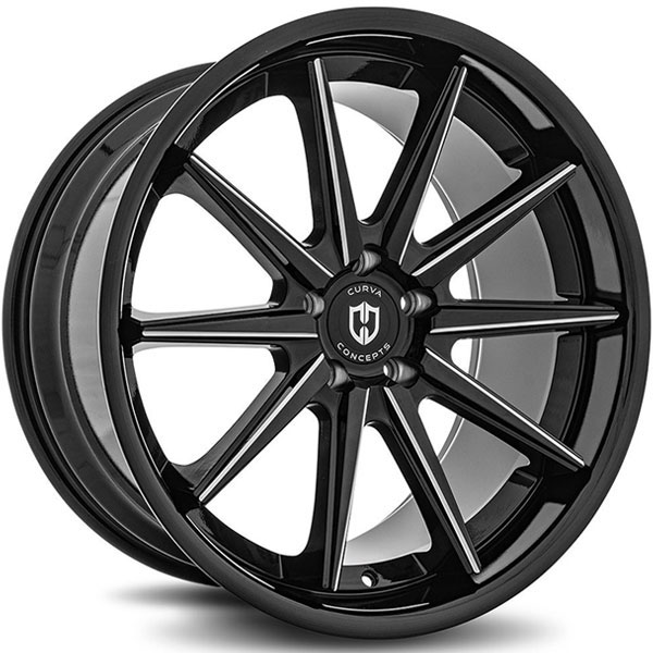 Curva Concepts C24 Gloss Black with Milled Spokes