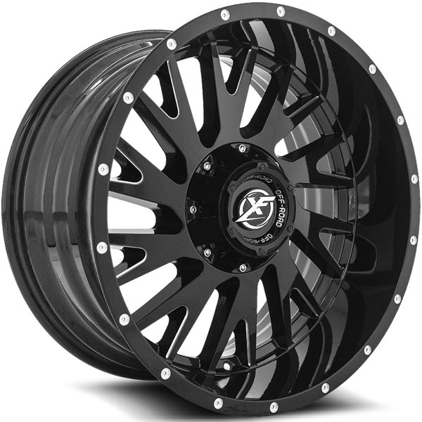 XF Off-Road XF-221 Gloss Black with Milled Spokes